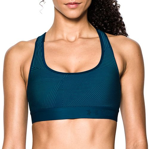 Womens Under Armour Crossback Embossed Elastic Sports Bras - Green/Navy L