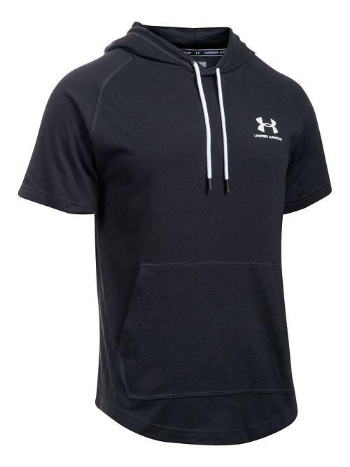 Mens Under Armour Sportstyle Short Sleeve Hoodie Short Sleeve Technical Tops - Black XXL