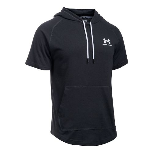 Mens Under Armour Sportstyle Short Sleeve Hoodie Short Sleeve Technical Tops - Black 3XL