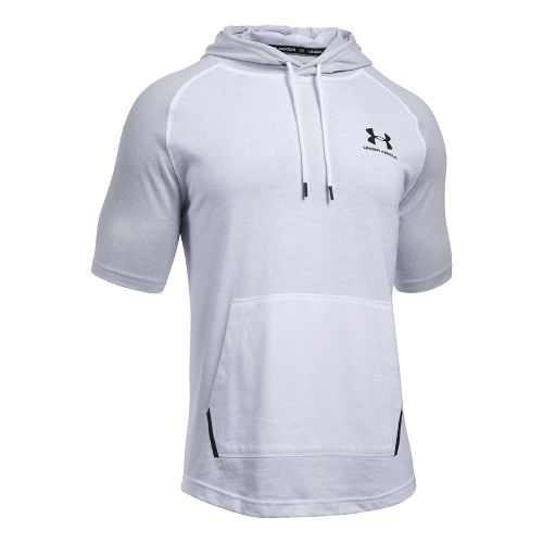 Mens Under Armour Sportstyle Short Sleeve Hoodie Short Sleeve Technical Tops - White XL