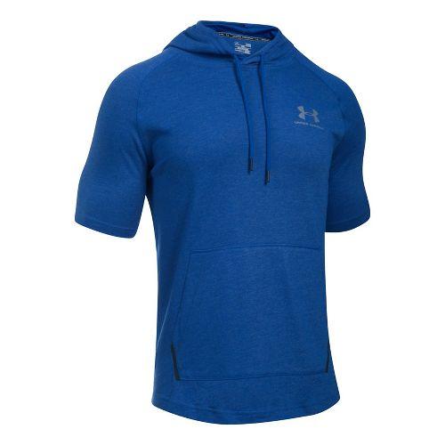 Mens Under Armour Sportstyle Short Sleeve Hoodie Short Sleeve Technical Tops - Royal XL