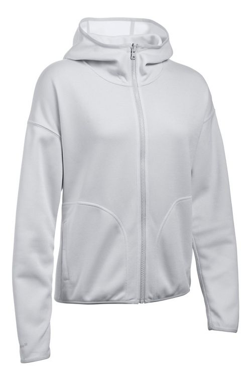 Womens Under Armour Double Threat Swacket Cold Weather Jackets - Grey/White L