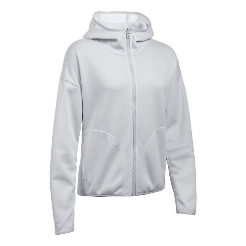 Womens Under Armour Double Threat Swacket Cold Weather Jackets - Grey/White M