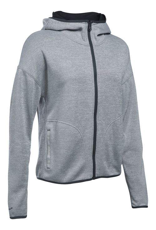 Womens Under Armour Double Threat Swacket Cold Weather Jackets - Grey/Black M