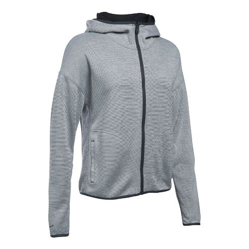 Womens Under Armour Double Threat Swacket Cold Weather Jackets - Grey/Black S