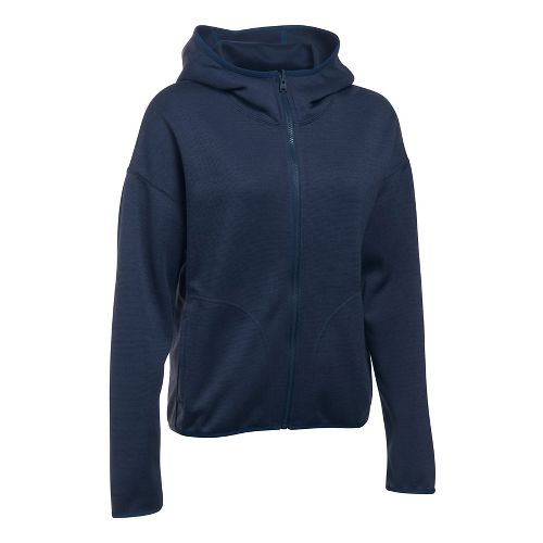 Womens Under Armour Double Threat Swacket Cold Weather Jackets - Midnight Navy S