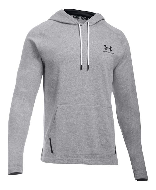 Mens Under Armour Sportstyle Jersey Half-Zips & Hoodies Technical Tops - Greyhound Heather L