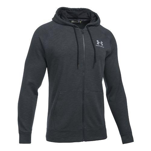 Mens Under Armour Sportstyle Full Zip Tri Half-Zips & Hoodies Technical Tops - Black/Steel 4XL ...