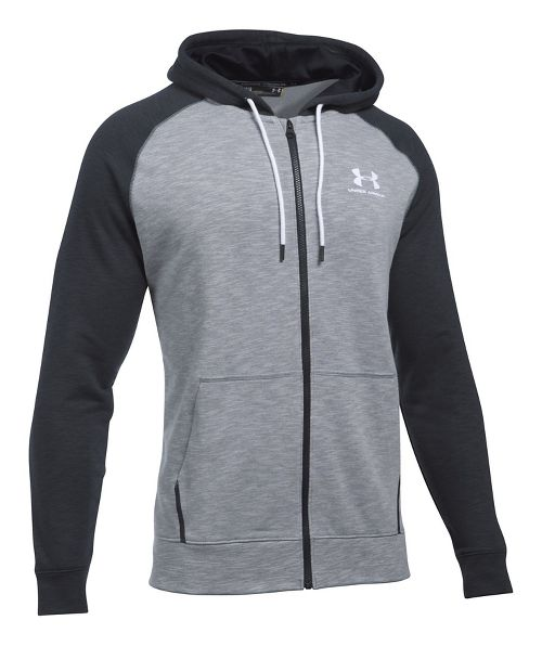 Mens Under Armour Sportstyle Full Zip Tri Half-Zips & Hoodies Technical Tops - Steel/Black M