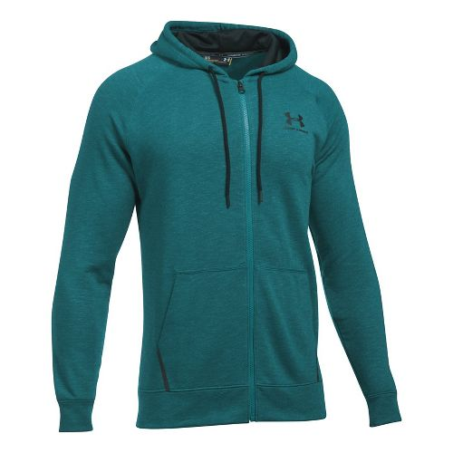 Mens Under Armour Sportstyle Full Zip Tri Half-Zips & Hoodies Technical Tops - Turquoise Sky XL