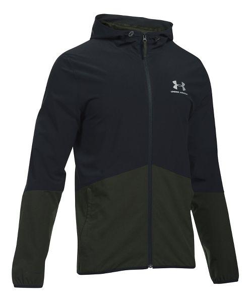Mens Under Armour Sportstyle Wave Running Jackets - Black/Green XL