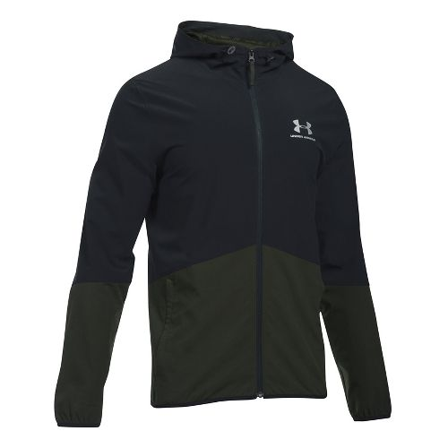 Mens Under Armour Sportstyle Wave Running Jackets - Black/Green XL