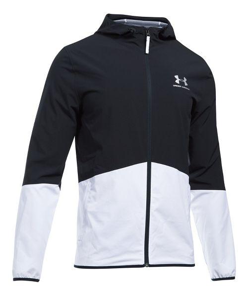 Mens Under Armour Sportstyle Wave Running Jackets - Black/White 3XL