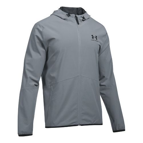 Mens Under Armour Sportstyle Wave Running Jackets - Steel L