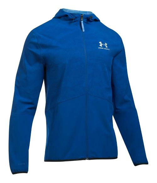 Mens Under Armour Sportstyle Wave Running Jackets - Royal XL