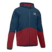 Mens Under Armour Sportstyle Wave Running Jackets - Academy/Cardinal XL