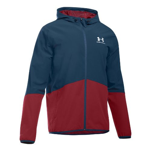 Mens Under Armour Sportstyle Wave Running Jackets - Academy/Cardinal S