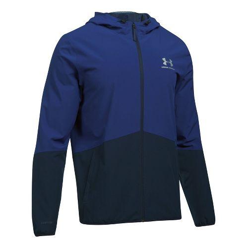 Mens Under Armour Sportstyle Wave Running Jackets - Midnight Navy/Purple XXL