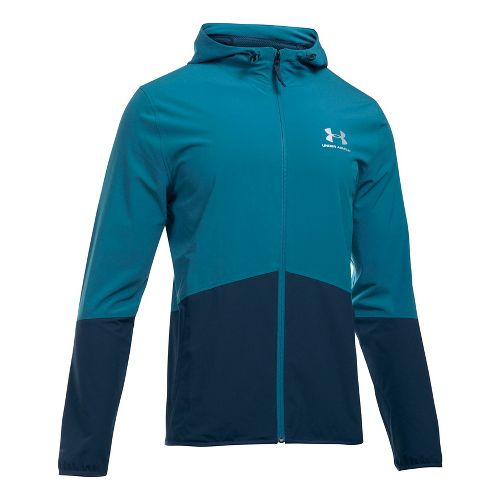 Mens Under Armour Sportstyle Wave Running Jackets - Bayou Blue/Academy M