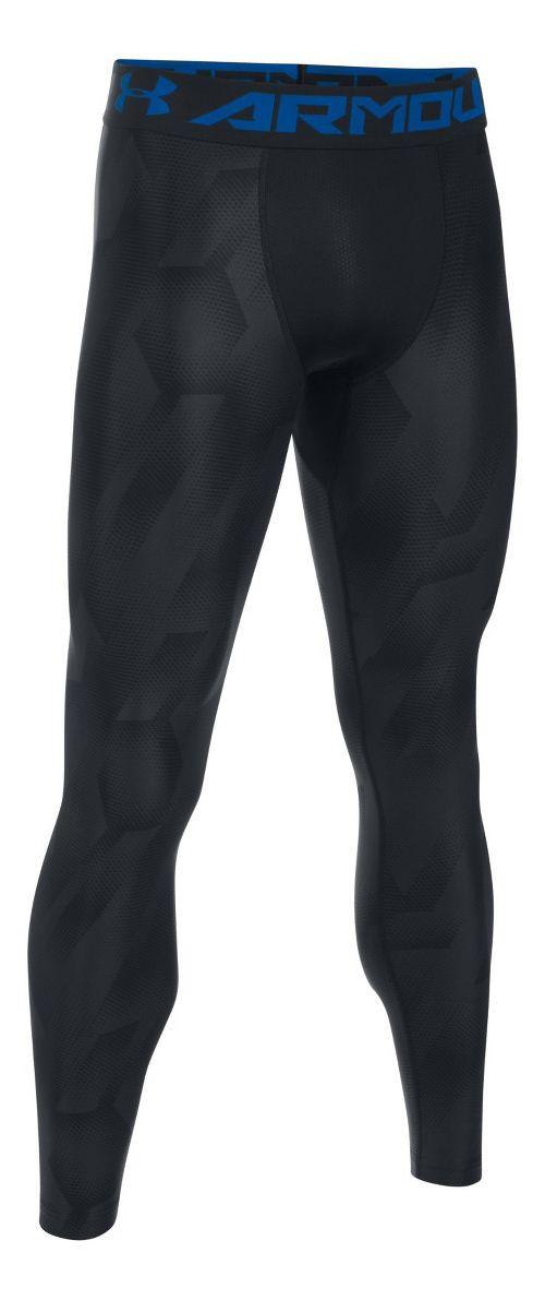 Mens Under Armour HeatGear 2.0 Novelty Tights & Leggings Pants - Black/Blue Marker M
