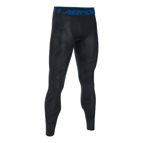 Mens Under Armour HeatGear Armour 2.0 Novelty Tights & Leggings Pants - Black/Blue Marker S ...