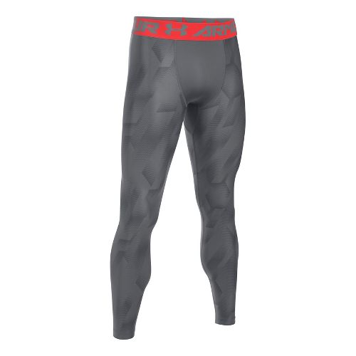 Mens Under Armour HeatGear Armour 2.0 Novelty Tights & Leggings Pants - Graphite/Pomegranate XXL