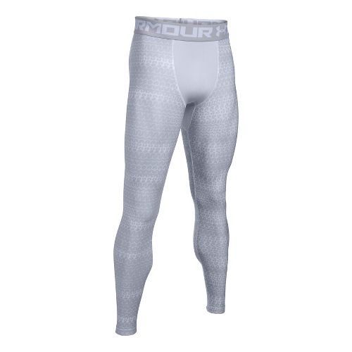 Mens Under Armour HeatGear Armour 2.0 Novelty Tights & Leggings Pants - White/Overcast Grey L ...