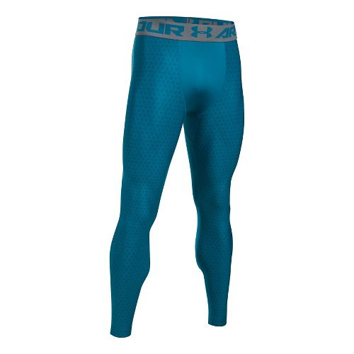 Mens Under Armour HeatGear 2.0 Novelty Tights & Leggings Pants - Bayou Blue/Graphite L