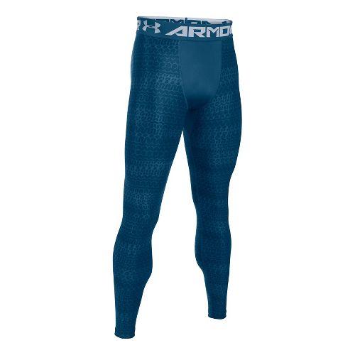 Mens Under Armour HeatGear 2.0 Novelty Tights & Leggings Pants - Blackout Navy/Steel L