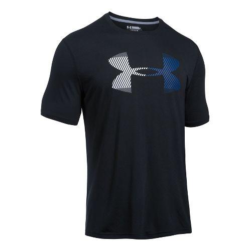 Mens Under Armour Hazard Logo Threadborne Short Sleeve Technical Tops - Black/Graphite L