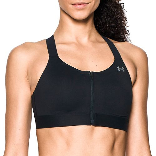 Womens Under Armour Eclipse High Zip Front Sports Bras - Black 34-C