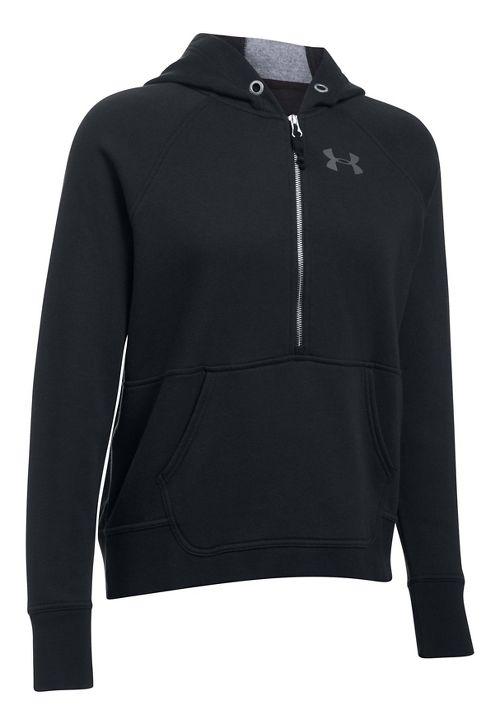 Womens Under Armour Favorite Fleece Half-Zips & Hoodies Technical Tops - Black S