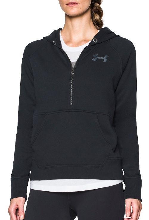 Womens Under Armour Favorite Fleece Half-Zips & Hoodies Technical Tops - Black/White S