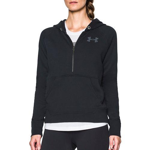 Womens Under Armour Favorite Fleece 1/2 Zip Half-Zips & Hoodies Technical Tops - Black/White S ...