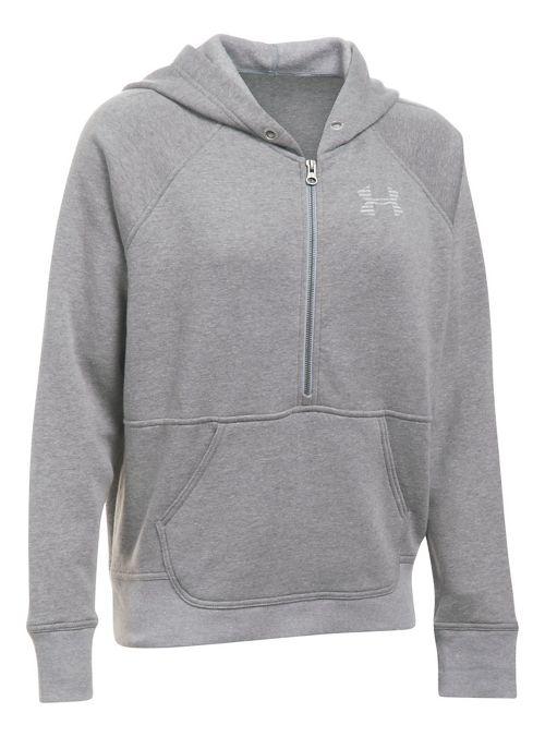 Womens Under Armour Favorite Fleece Half-Zips & Hoodies Technical Tops - Graphite/White S