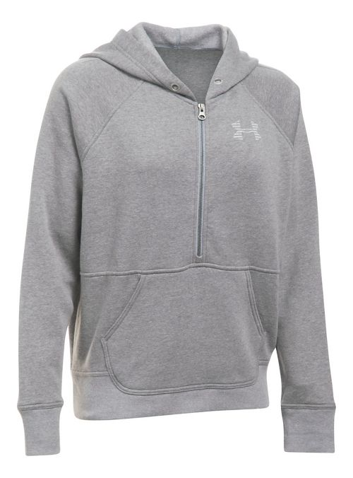 Womens Under Armour Favorite Fleece Half-Zips & Hoodies Technical Tops - Graphite/White XL