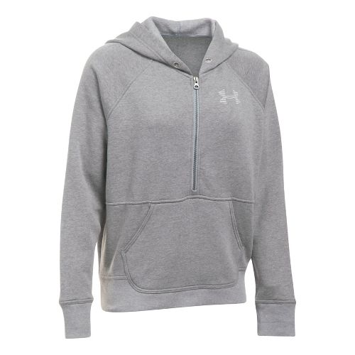 Womens Under Armour Favorite Fleece Half-Zips & Hoodies Technical Tops - Graphite/White S