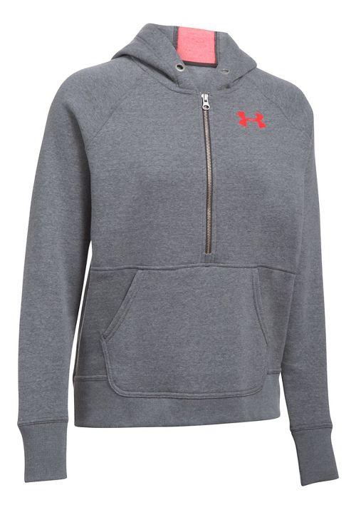 Womens Under Armour Favorite Fleece Half-Zips & Hoodies Technical Tops - Carbon Heather XXL
