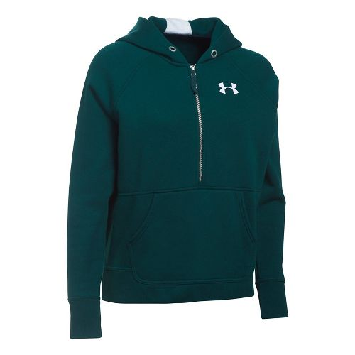 Womens Under Armour Favorite Fleece Half-Zips & Hoodies Technical Tops - Arden Green XS