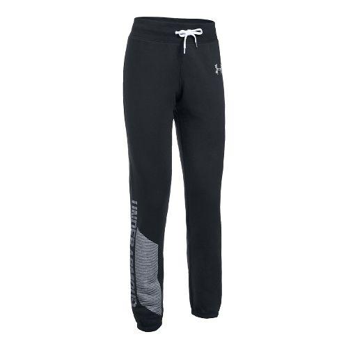 Womens Under Armour Favorite Fleece Pants - Black/White L