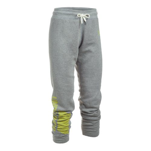 Womens Under Armour Favorite Fleece Pants - Graphite/Yellow S