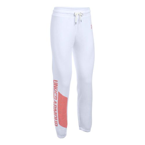 Womens Under Armour Favorite Fleece Pants - White/Pomegranate S
