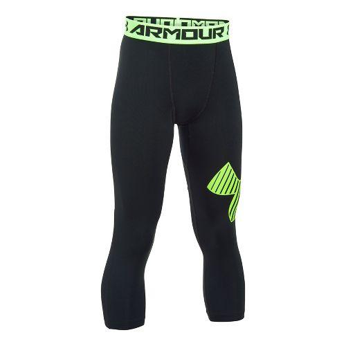 Under Armour Boys Armour 3/4 Logo Tights & Leggings Pants - Black/Green YL