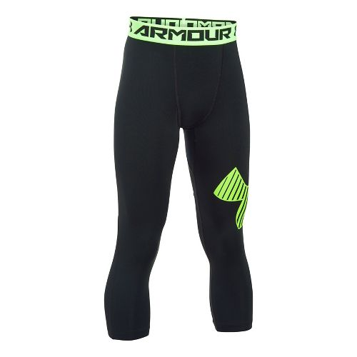 Under Armour Boys Armour 3/4 Logo Tights & Leggings Pants - Black/Green YXL