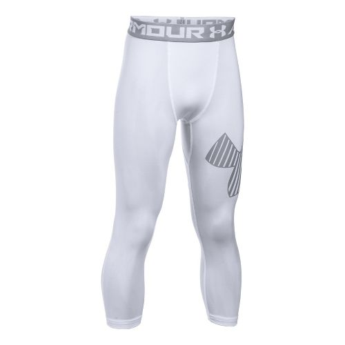Under Armour Boys Armour 3/4 Logo Tights & Leggings Pants - White/Overcast Grey YXS
