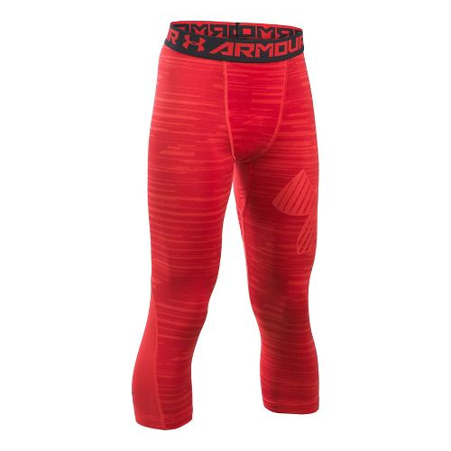 Under Armour Boys Armour 3/4 Printed Tights & Leggings Pants - Red YL