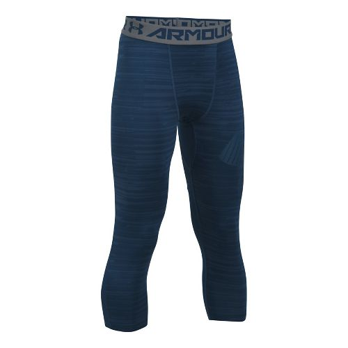 Under Armour Boys Armour 3/4 Printed Tights & Leggings Pants - Blackout Navy YXL