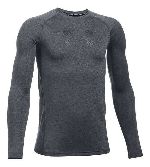 Under Armour Boys Armour Long Sleeve Technical Tops - Carbon Heather YS