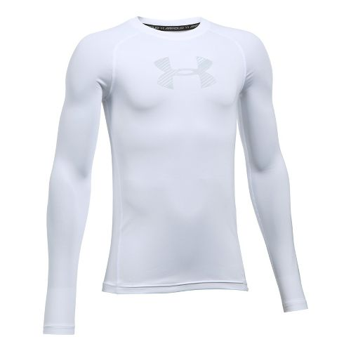 Under Armour Boys Armour Long Sleeve Technical Tops - White YXS