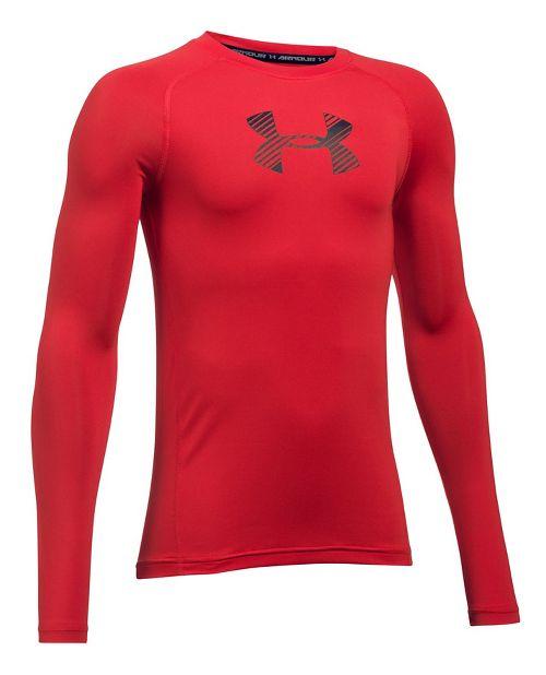 Under Armour Boys Armour Long Sleeve Technical Tops - Red YS